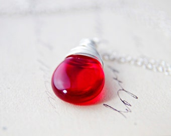 Candy Apple Red Glass Necklace Silver Pendant