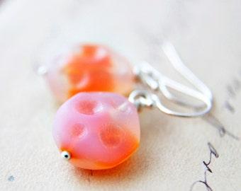 Glass Earrings, Vintage Glass, Drop Earrings, Sterling Silver, Dangle Earrings, Sterling Silver, Textured Glass, Orange, Sherbet, Tangerine