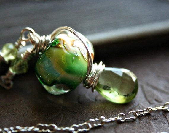 Necklace Gold Foil, Aqua and Lime Green Lampwork Glass Bead with Peridot on Sterling Silver, Springs Eternal