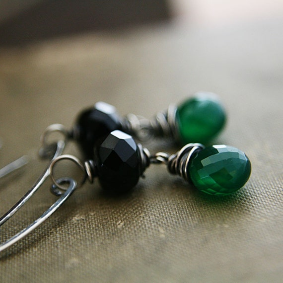 Toil and Trouble Earrings, for the Wicked Evil Woman of Black and AAA Grade Emerald Green Onyx Oxidized Gray Sterling Silver