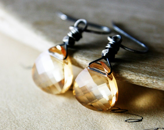 Champagne Crystal Drop Earrings Golden Taupe Silver Dangle