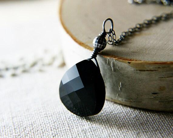 Black Crystal Necklace Sterling Silver Onyx  polestar Fall Fashion Fall Fashion