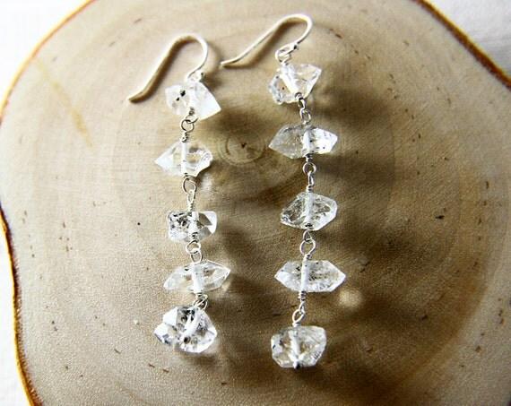 Sleet Earrings Herkimer Diamond Chain Sterling Silver