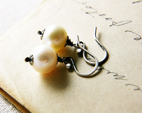 Pearl Earrings Alabaster White Freshwater Pearl June Birthstone Fine Silver under 50 Fashion
