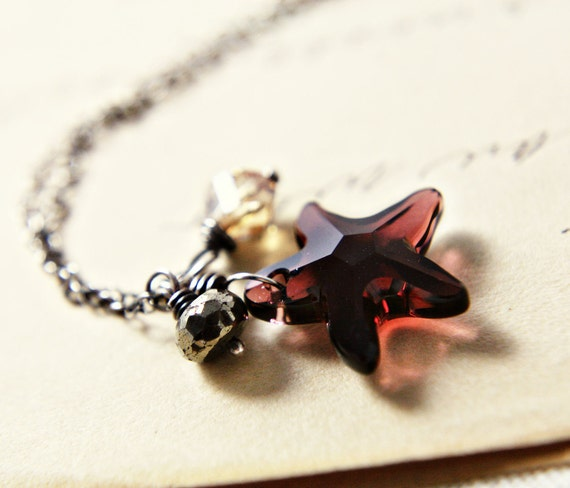 Crystal Starfish Necklace Silver Burgundy Pendant