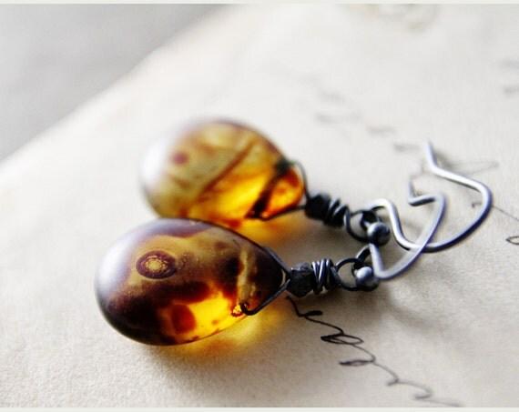 Earthy Jewelry Glass Earrings Earth Tones Dangle PoleStar