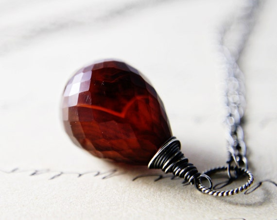 Amber Necklace Rust Chalcedony Sterling Silver Wire Wrapped Autumn Cinnamon Under 50 Gifts Fashion