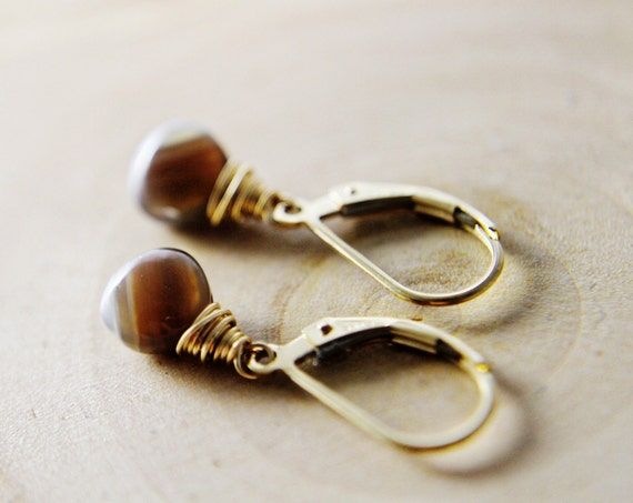 SALE Botswana Drop Earrings Agate Gold  Brown Dangle Fall Fashion