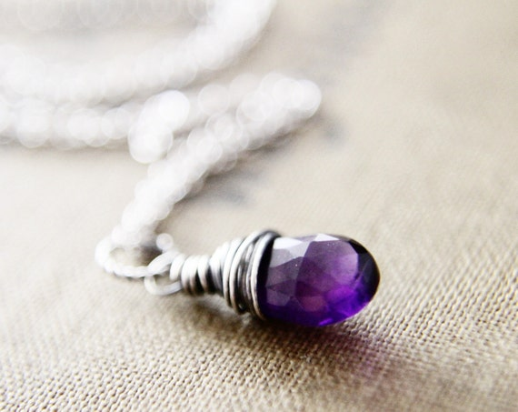 Amethyst Necklace Sterling Silver February Birthstone Wire Wrapped Oxidized Gray Purple Grape Fashion