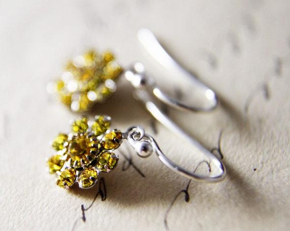 Sparkle Earrings Yellow Silver Dangle