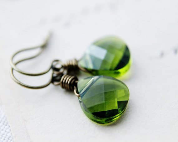 Green Crystal Earrings Olive Grass