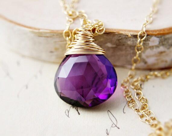 Amethyst Necklace Gold Plum Royal Amethyst Jewelry Grape Pendant February Birthstone
