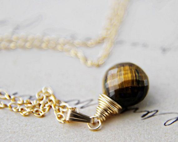 Tiger Necklace Gold Brown Earth Tones Caramel Pendant