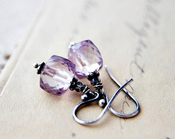 Pink Amethyst Gemstone Jewelry Cubes Dangle