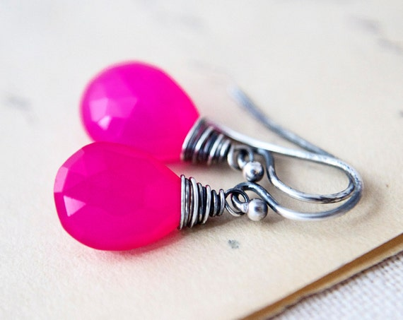 Hot Pink Earrings Wire Wrapped Sterling Silver Chalcedony Stone Oxidized Gray Dangle Fluorescent Neon Fashion