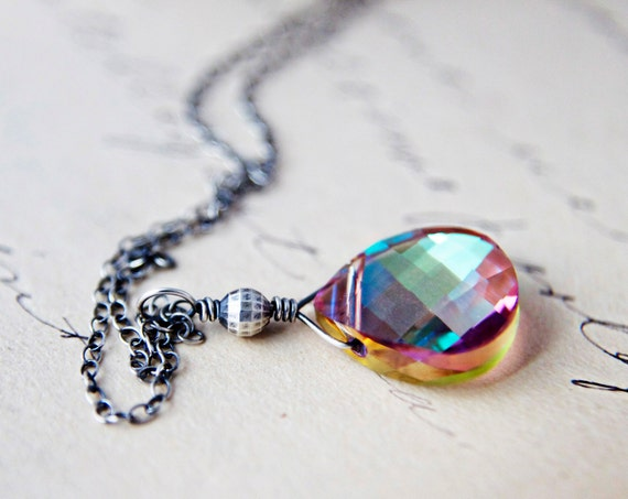 Sunrise Necklace Sterling Silver Crystal Pendant