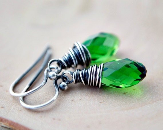 Green Grass Earrings Crystal Silver Clover