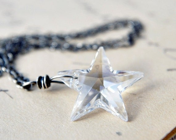 Star Necklace Crystal Night Celestial Galaxy Pendant