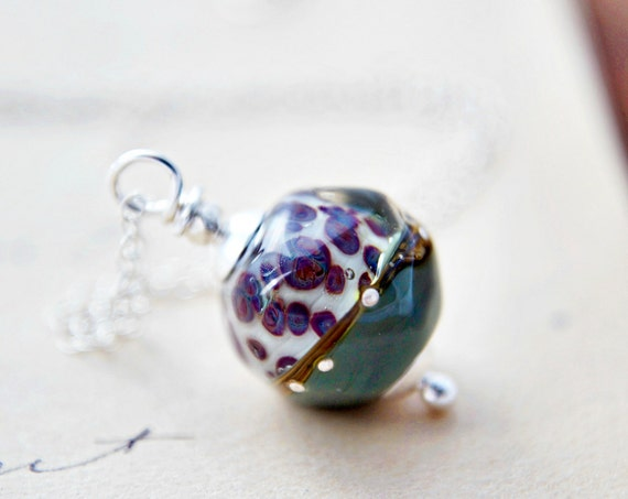Glass Necklace Silver Animal Print Teal