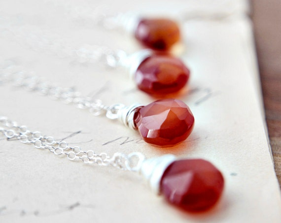 RESERVED Bridesmaid Gift Set Rust Orange Chalcedony Sterling Silver Pendant PoleStar