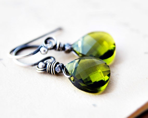 Green Crystal Earrings Silver Grass Dangle PoleStar