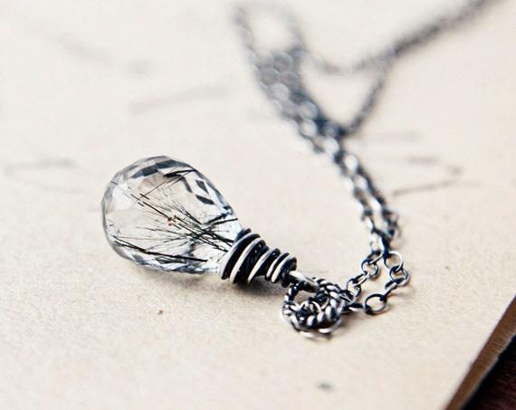 Tourmalinated Quartz Necklace Silver Gray