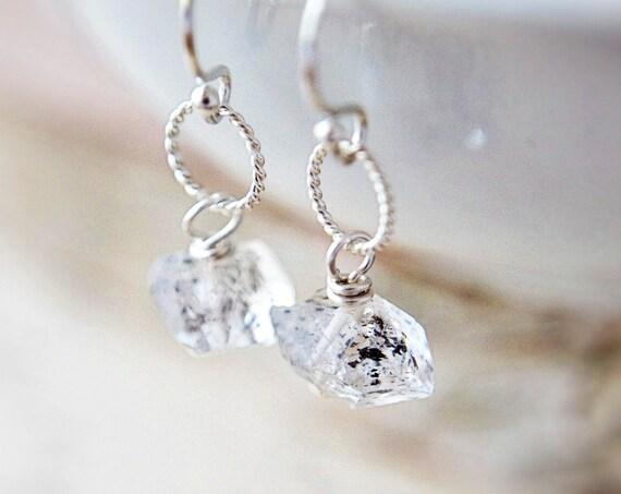 Herkimer Diamond Earrings Silver Minimalist Modern Dangle