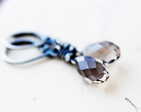 Coffee Earrings Brown Crystal Silver Dangle