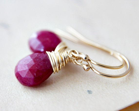 July Birthstone Earrings Ruby Gold Crimson Red Ruby Earrings PoleStar Jewel Tone