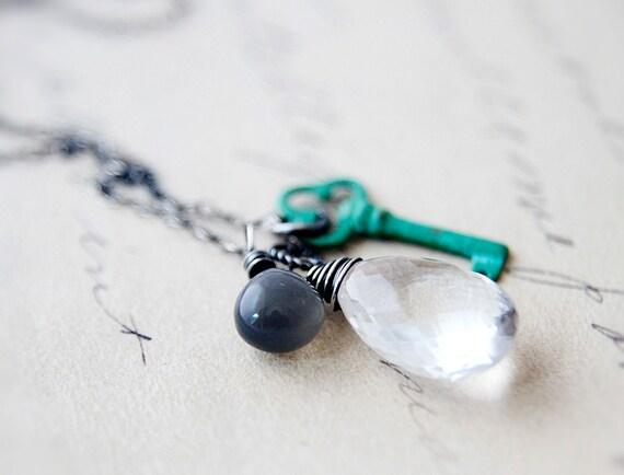 Secret Keeper Necklace Crystal Quartz Gray Moonstone Patina Verdigris Key Charm Sterling Silver Stone