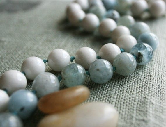 Seaside Hand Knotted Bead Necklace - Aquamarine Gems on Irish Linen