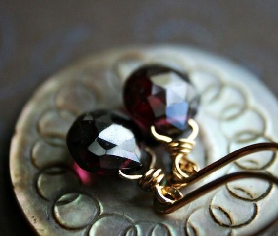Garnet Drops - Garnet Briolettes on Gold Earring Wires
