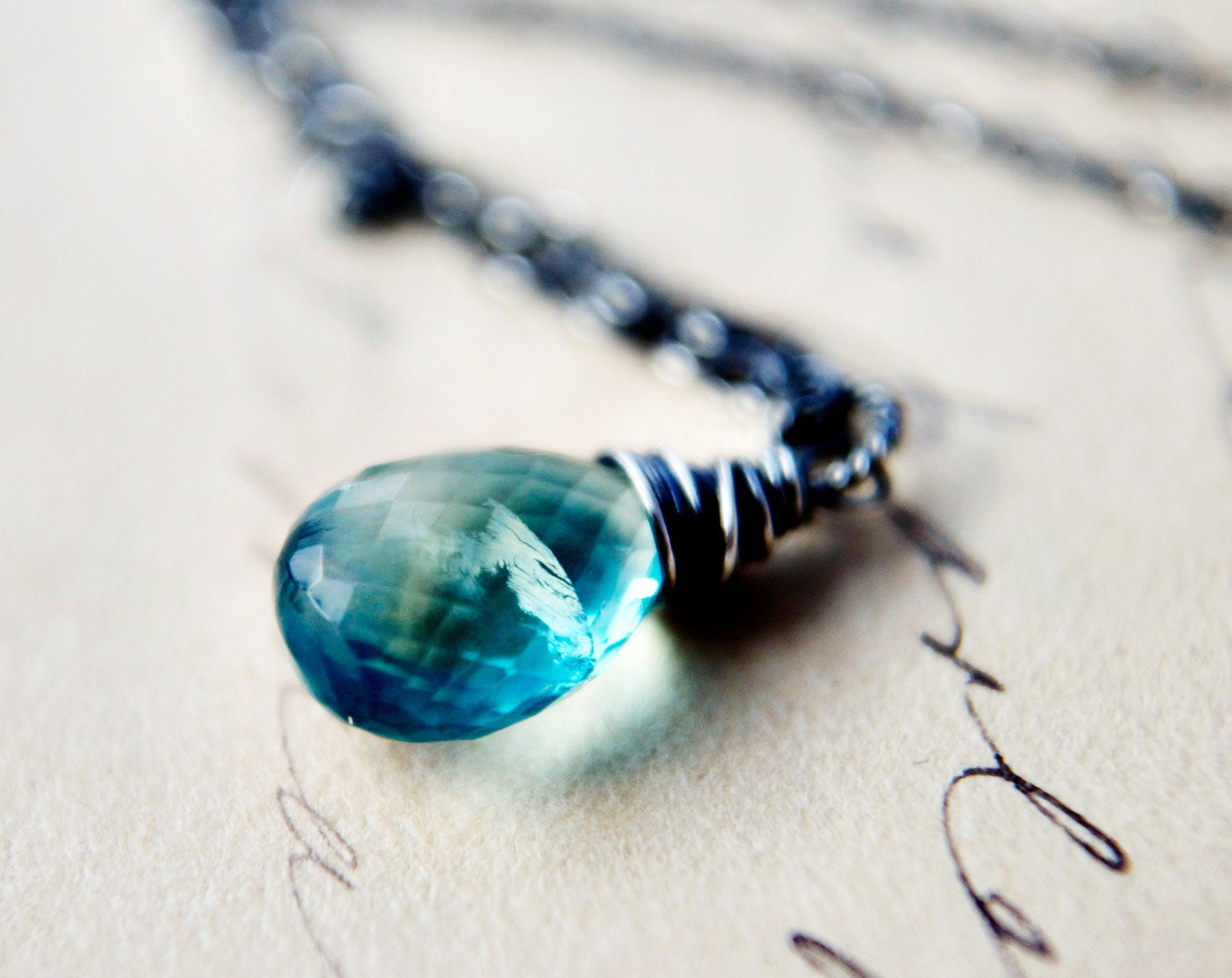 teal necklace fluorite gemstone wire wrapped pendant oxidized