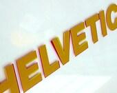 Helvetica v. Arial Glass Silkscreen print Magenta\/Yellow ooak