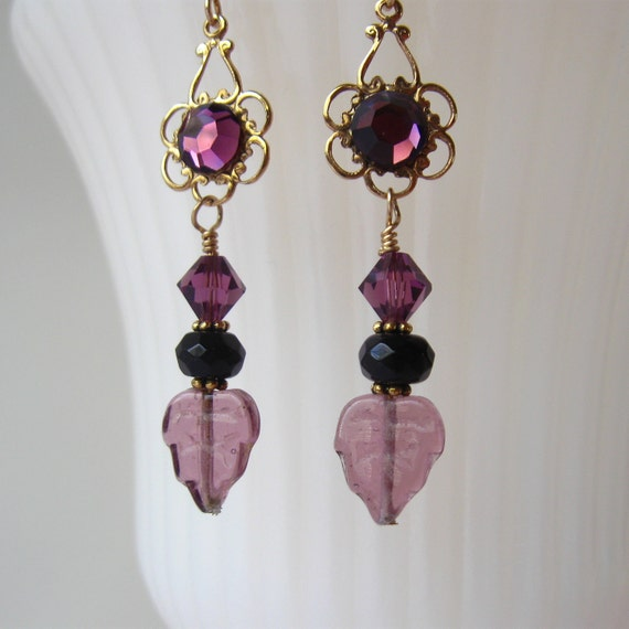 Purple Crystal Leaf Earrings with Gold Tone Setting