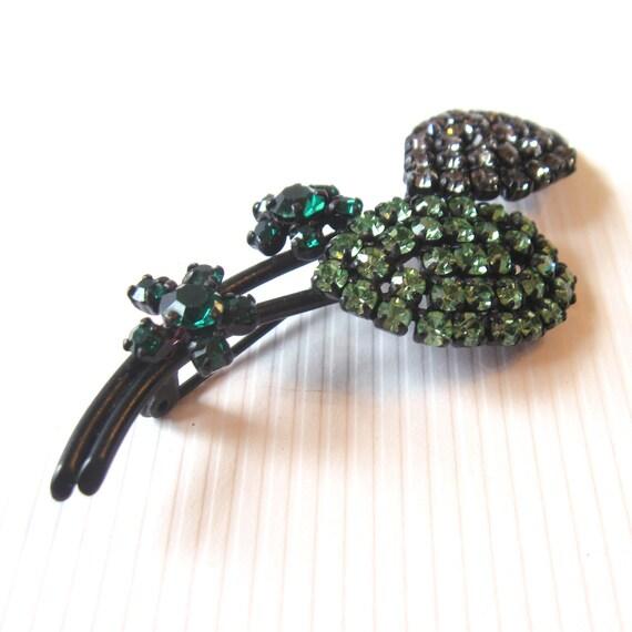 Vintage Floral Brooch - Rhinestone Encrusted - Emerald Green, Lime Green, Smokey Gray - Black Setting
