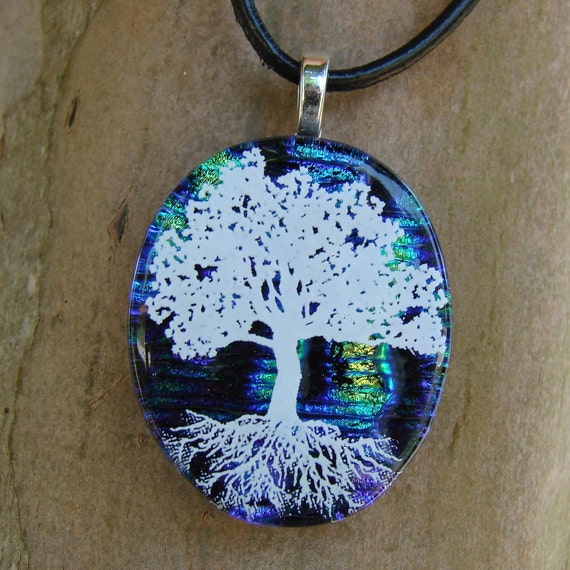 SALE Colorful SkiesTree Of Life Fused Glass Pendant