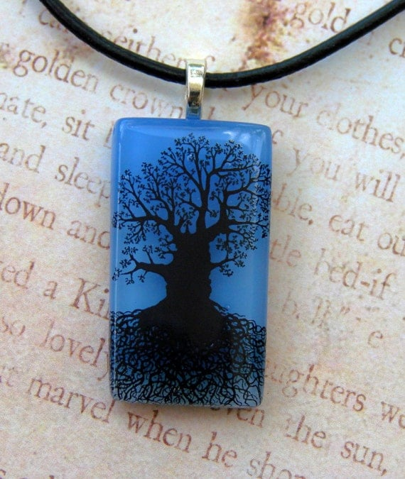 Blue Skies Mighty Tree Of Life Fused Glass Pendant
