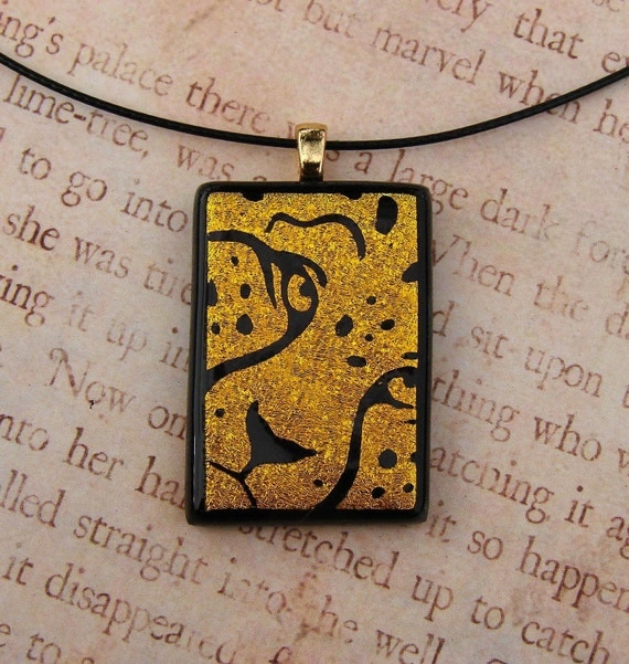 Fused Glass Gold Cheetah Pendant