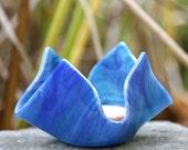 Fused Glass Votive Holder - Caribbean Blue