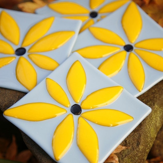 Fused Glass Coasters - He Loves Me, He Love Me Not - blue with yellow flower