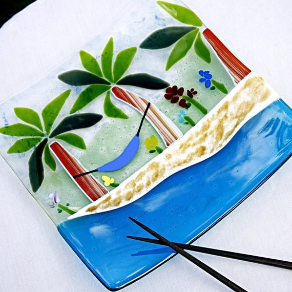 Fused Glass Platter - Beach Theme - Some Beach Somewhere