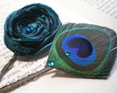 Peacock Blue Poppy and Feather Pin Set