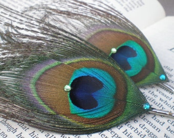 Eye of the Peacock, Feathery Hair Pins--Made to order