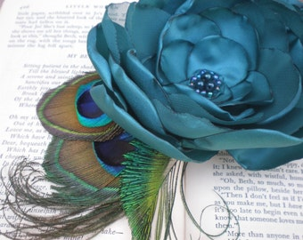 Blue Flower Brooch/Hair Clip-Made to order