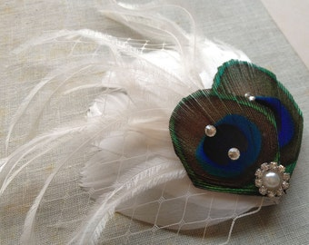Peacock Wedding Feather Hair Clip - Made to order