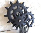 Cogs Gears Steampunk Gothic Hair Comb Black- Elegant Machinery