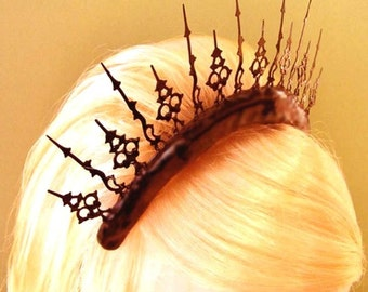 Gothic Tiara for the perfect steampunk bride made of clock hands- A Stitch In Time of Neo Victorian Splendor