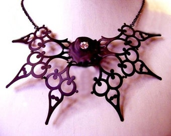 Steampunk Necklace Neo Victorian made of clock hands black with crystals perfect fo the gothic bride- Papillon de la Nuit