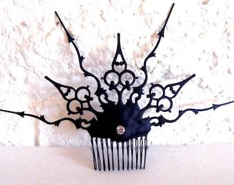 Steampunk Victorian Hair Comb black Gothic hair Ornament gothic evil queen inspired for that noir bride unique urban wedding or vampire ball